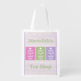Behalten Sie ruhig und haben Sie Tee-Collage Wiederverwendbare Einkaufstasche