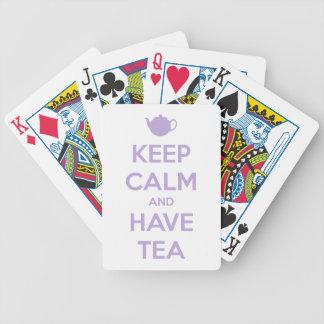 Behalten Sie ruhig und haben Sie Tee-Lavendel Bicycle Spielkarten