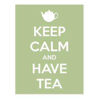 Behalten Sie ruhig und haben Sie Tee-weises Grün Postkarte