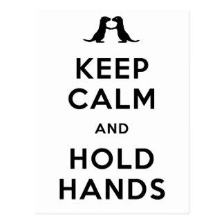 Behalten Sie ruhig und halten Sie Hände (die Postkarte