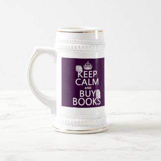 Behalten Sie ruhig und kaufen Sie Bücher (in Bierglas