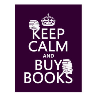 Behalten Sie ruhig und kaufen Sie Bücher (in Postkarte