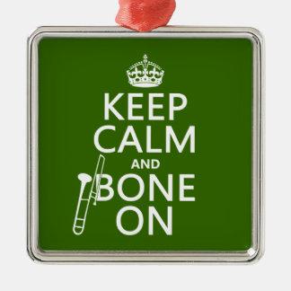 Behalten Sie ruhig und 'Knochen auf (Trombone - Silbernes Ornament