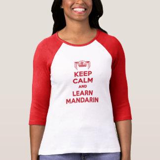 Behalten Sie ruhig und lernen Sie Mandarinen-Damen T-Shirt
