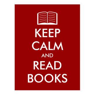 Behalten Sie ruhig und lesen Sie Buchpostkarte mit Postkarte