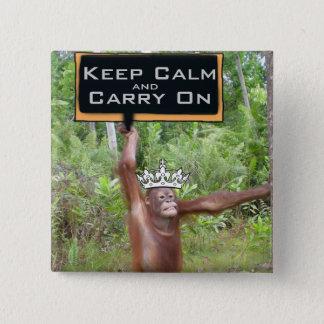 Behalten Sie ruhig und machen Sie Dschungel-Safari Quadratischer Button 5,1 Cm