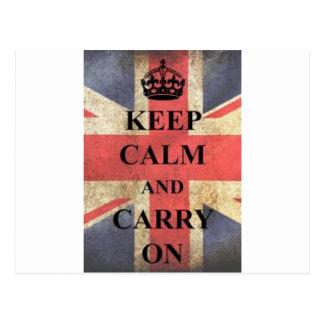 behalten Sie ruhig und machen Sie England weiter Postkarte