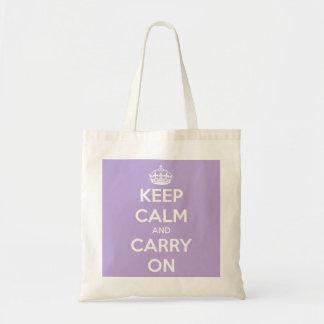 Behalten Sie ruhig und machen Sie Lavendel weiter Tragetasche