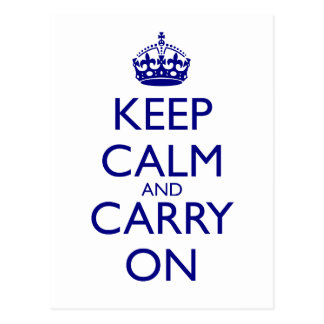 Behalten Sie ruhig und machen Sie Marine-Blau-Text Postkarte