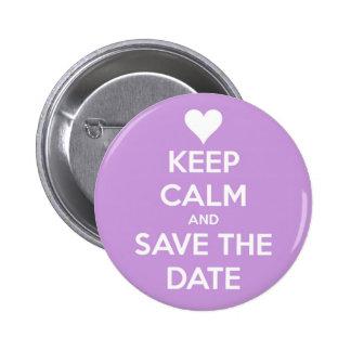 Behalten Sie ruhig und Save the Date Lavendel Runder Button 5,1 Cm