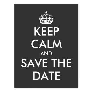 Behalten Sie ruhig und Save the Date Postkarte
