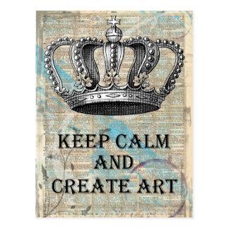 Behalten Sie ruhig und schaffen Sie Kunst-Vintagen Postkarte
