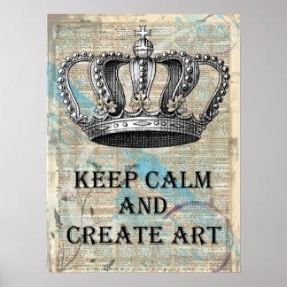 Behalten Sie ruhig und schaffen Sie Kunst-Vintages Poster