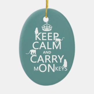 Behalten Sie ruhig und tragen Sie Affen - alle Keramik Ornament
