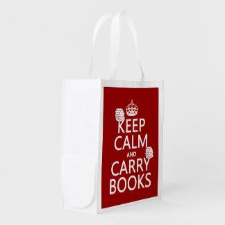 Behalten Sie ruhig und tragen Sie Bücher (in Wiederverwendbare Einkaufstasche