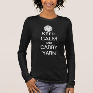 Behalten Sie ruhig und tragen Sie Garn Langarm T-Shirt