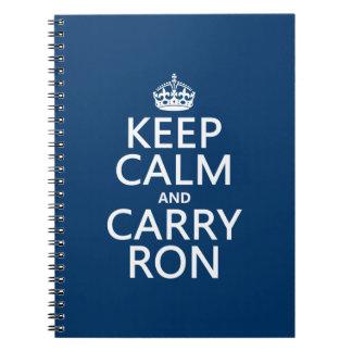 Behalten Sie ruhig und tragen Sie Ron (irgendeine Notizblock