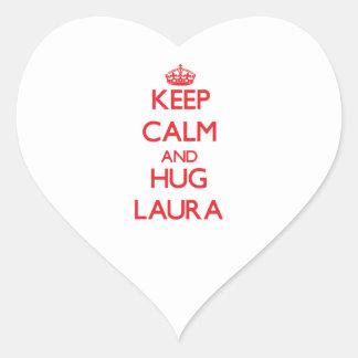 Behalten Sie ruhig und Umarmung Laura Herz-Aufkleber