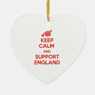Behalten Sie ruhig und Unterstützung England Keramik Herz-Ornament