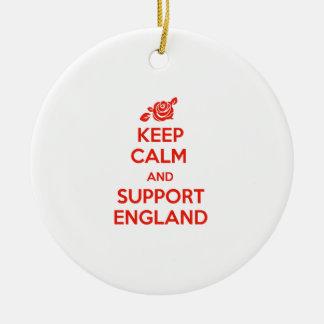 Behalten Sie ruhig und Unterstützung England Rundes Keramik Ornament