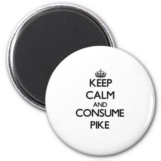 Behalten Sie ruhig und verbrauchen Sie Pike Kühlschrankmagnet