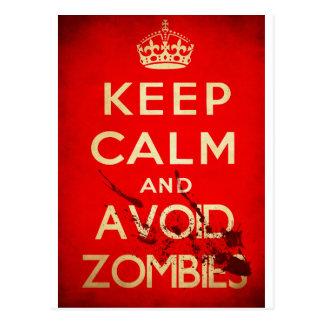 Behalten Sie ruhig und vermeiden Sie Zombies Postkarte
