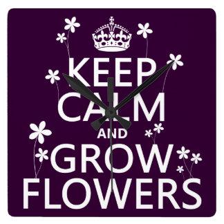 Behalten Sie ruhig und wachsen Sie Blumen (in Quadratische Wanduhr