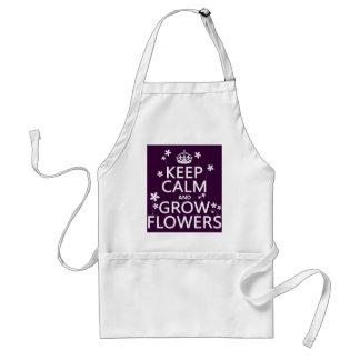 Behalten Sie ruhig und wachsen Sie Blumen (in Schürze