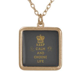 Behalten Sie ruhig und wählen Sie das Leben Vergoldete Kette