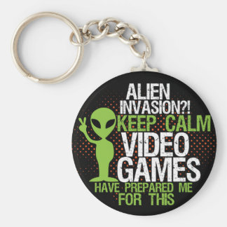 Behalten Sie ruhige alien-Invasionlustige Gamers Schlüsselanhänger
