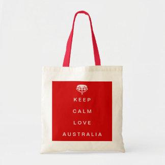 Behalten Sie ruhige Liebe-Australien-Taschentasche Budget Stoffbeutel