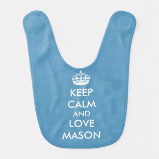 Behalten Sie ruhige Liebe-personalisierten blauen Babylätzchen