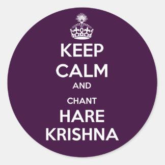 Behalten Sie ruhige und Gesang-Hasen Krishna Runder Aufkleber
