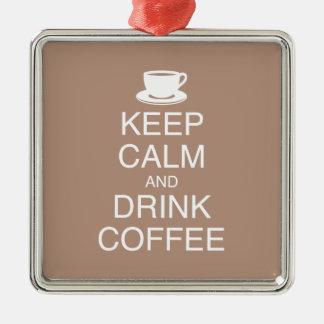 Behalten Sie ruhige und Getränk-Kaffee-Verzierung Silbernes Ornament