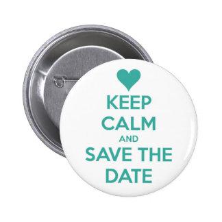 Behalten Sie ruhige und Save the Date Insel-blaue Runder Button 5,7 Cm