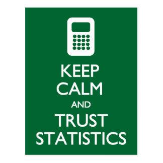 Behalten Sie ruhige Vertrauens-Statistikpostkarte Postkarte