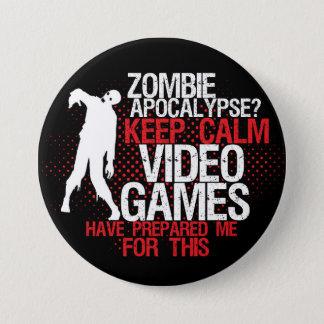 Behalten Sie ruhige Zombie-Apokalypselustigen Runder Button 7,6 Cm