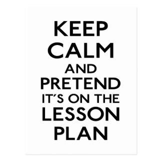 Behalten Sie ruhigen Lektions-Plan Postkarte