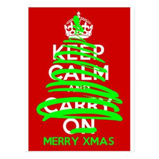 BEHALTEN Sie RUHIGEN Weihnachtsbaumgraffiti Postkarte