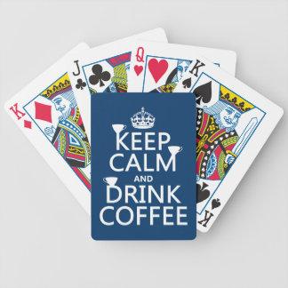 Behalten Sie ruhiger und Getränk-Kaffee - alle Bicycle Spielkarten