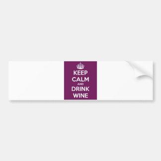 Behalten Sie ruhiger und Getränk-Wein Autoaufkleber