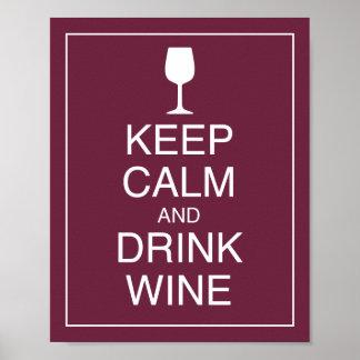 Behalten Sie ruhiger und Getränk-Wein-Kunst-Plakat
