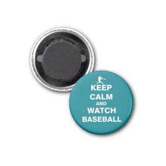 Behalten Sie ruhiger und Uhr-Baseball Runder Magnet 3,2 Cm
