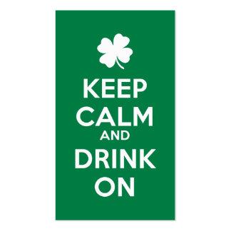 Behalten Sie ruhiges Getränk an Tag Kleeblatt-St. Visitenkarten Vorlagen