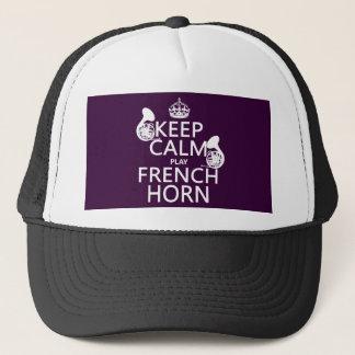 Behalten Sie ruhiges und französisches Horn Truckerkappe