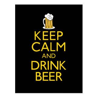Behalten Sie ruhiges und Getränk-Bier Postkarte