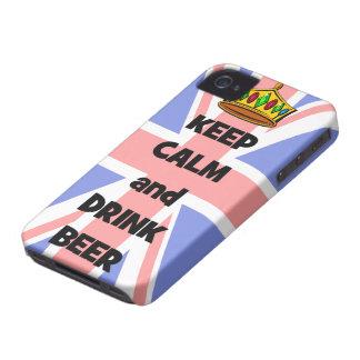 behalten Sie ruhiges und Getränkbier iPhone 4 Cover