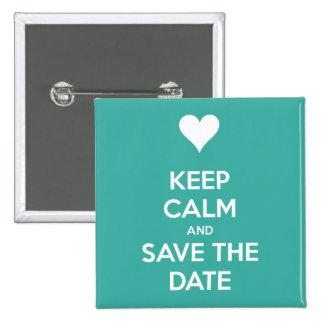 Behalten Sie ruhiges und Save the Date Insel-Blau Quadratischer Button 5,1 Cm