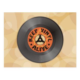 Behalten Sie Vinyl lebendig Postkarte