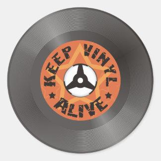 Behalten Sie Vinyl lebendig Runder Aufkleber